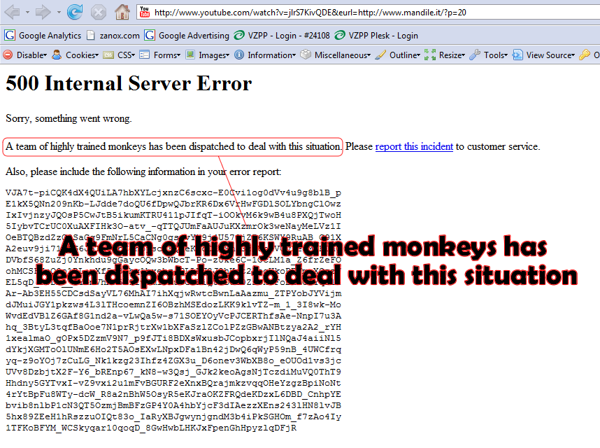 Monkey Job in Youtube Server Error